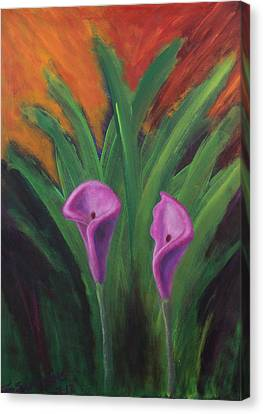Canvas Print featuring the painting Sun Splashes Callas by Janet Greer Sammons