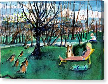 Sunbathing With Friends Canvas Print by Mindy Newman
