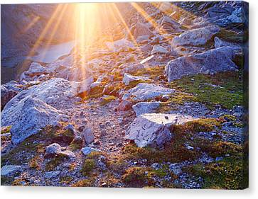 Canvas Print featuring the photograph Sunburst Over Abyss Lake by Jim Garrison