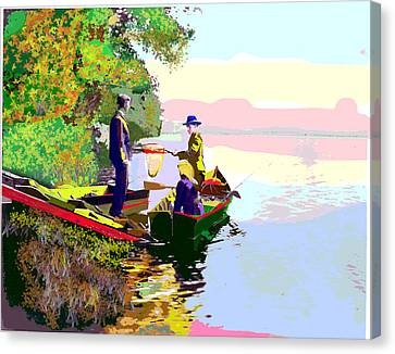 Sunday Fishing Canvas Print by Charles Shoup