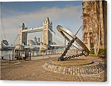 Sundial At Tower Bridge Canvas Print by Donald Davis
