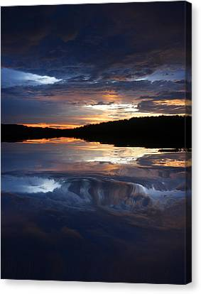 Sundown At Lake Canvas Print by Rick Friedle