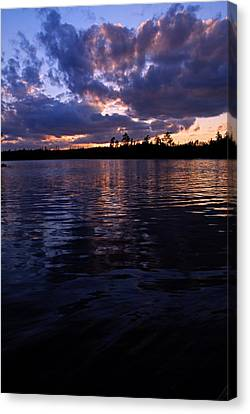 Sunet On Spoon Lake Canvas Print by Larry Ricker