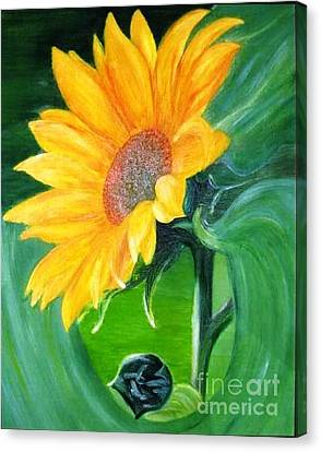 Canvas Print featuring the painting Sunflower by AmaS Art