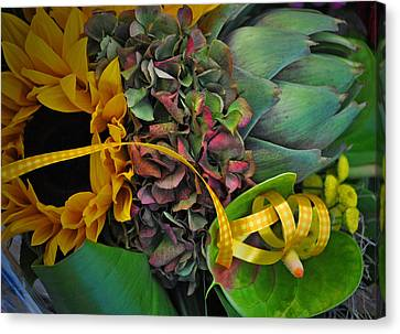 Sunflower And Thistle  Canvas Print by Mary Machare