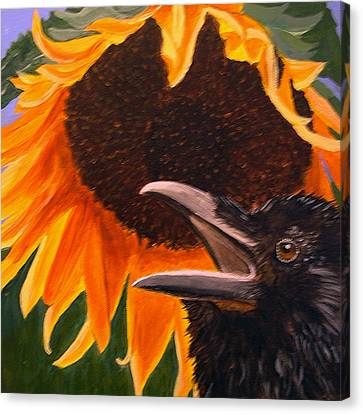 Sunflower Crow Canvas Print by Kathleen A Johnson