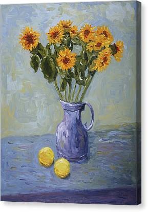 Sunflowers And Lemons Canvas Print