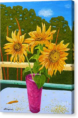 Sunflowers And Pines Canvas Print by Maria Malevannaya
