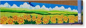 Sunflowers-exterior Mural Canvas Print by Jennifer Little
