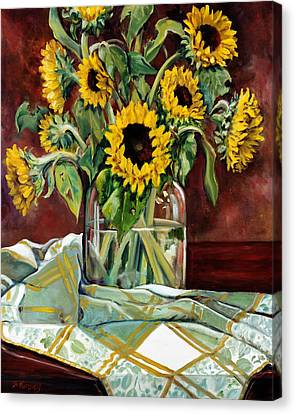 Sunflowers In A Jar Canvas Print by Sheila Kinsey