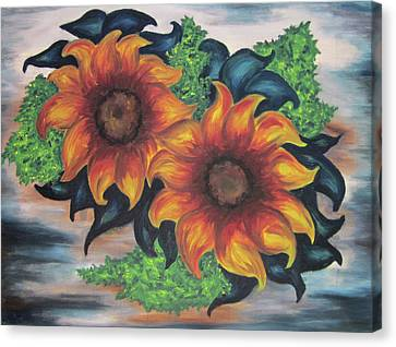 Sunflowers In A Still Life Canvas Print