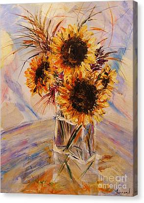 Sunflowers Canvas Print by Karen  Ferrand Carroll