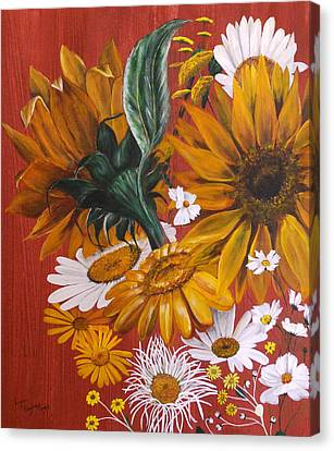 Canvas Print featuring the painting Sunflowers by Lynn Hughes