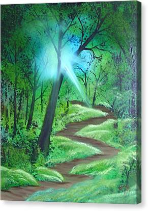 Canvas Print featuring the painting Sunlight In The Forest by Charles and Melisa Morrison