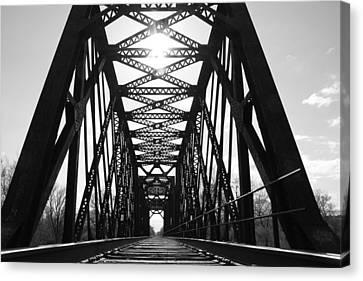 Canvas Print featuring the photograph Sunlight Through The Peshtigo Train Bridge by Mark J Seefeldt