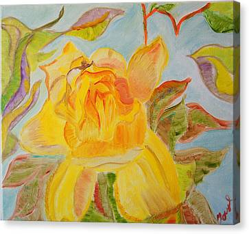 Canvas Print featuring the painting Sunlit Rose by Meryl Goudey
