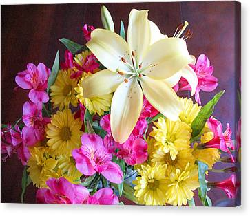 Sunny Bouquet Canvas Print by Connie Fox