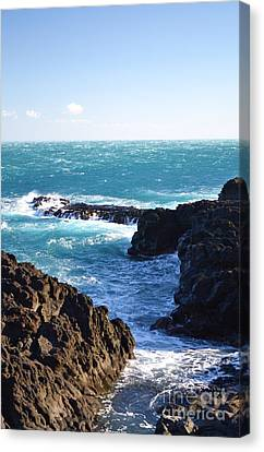 Sunny Day And Stormy Sea Canvas Print by Kathleen Pio