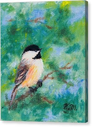 Sunny Day Chickadee - Bird 1 Canvas Print by Kathleen McDermott