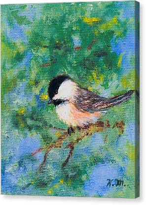 Sunny Day Chickadee - Bird 2 Canvas Print by Kathleen McDermott