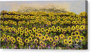 Sunny Field Series With Gold Leaf By Vic Mastis Canvas Print by Vic  Mastis