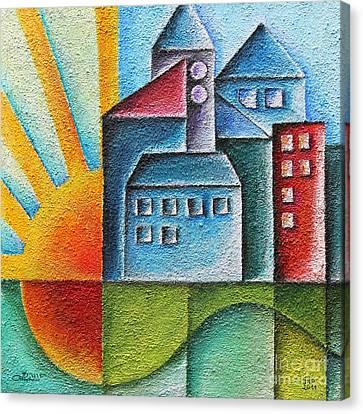 Sunny Town Canvas Print by Jutta Maria Pusl