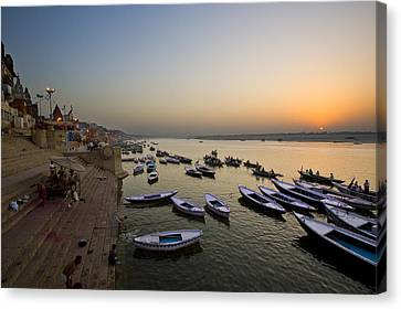 Sunrise At Ganges River Canvas Print by Ng Hock How
