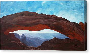 Sunrise At Mesa Arch Canvas Print by Estephy Sabin Figueroa