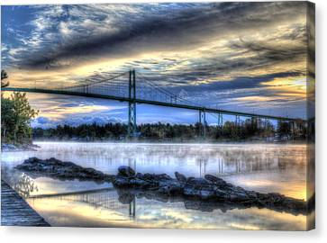 Sunrise At The Bridge Canvas Print by Sharon Batdorf
