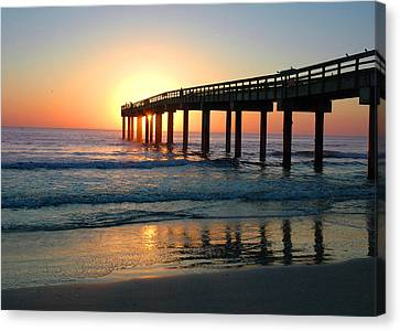 Sunrise At The Pier Canvas Print by Rod Seel