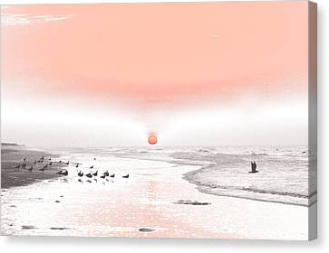 Canvas Print featuring the photograph Pastel Sunrise Beach by Tom Wurl