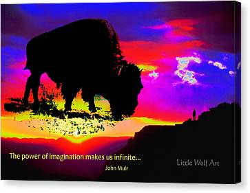 Sunrise Bison Collage Canvas Print