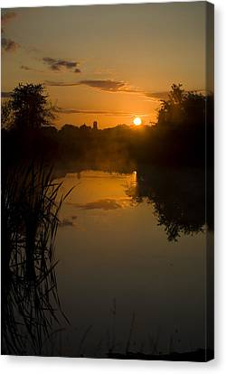 Sunrise By A Lake Canvas Print by Pixie Copley