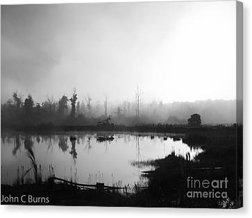 Canvas Print featuring the photograph Sunrise Drilling by John Burns