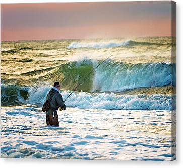 Sunrise Fisherman Canvas Print by Vicki Jauron