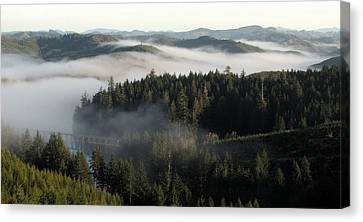 Canvas Print featuring the photograph Sunrise Fog And Bridge by Katie Wing Vigil