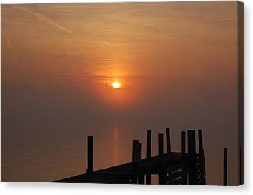 Sunrise On The River Canvas Print by Randy J Heath