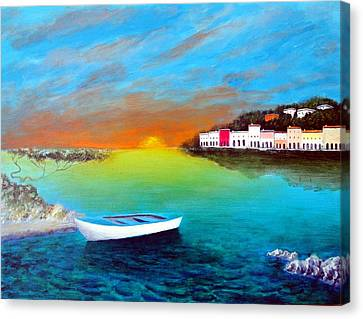 Canvas Print featuring the painting Sunrise On The Riviera by Larry Cirigliano
