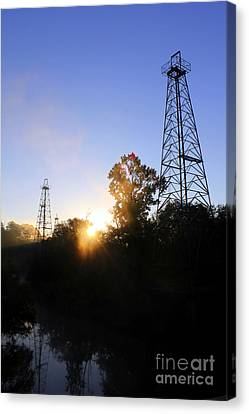 Sunrise On The Sabine Canvas Print by Kathy  White