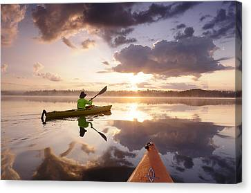 Sunrise Out On The Lake Canvas Print