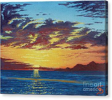 Canvas Print featuring the painting Sunrise Over Gonzaga Bay by Dumitru Sandru
