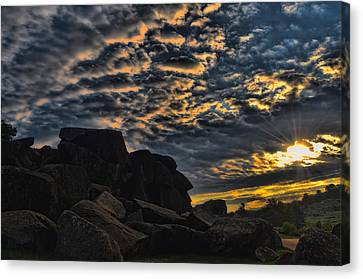 Sunrise Over Little Round Top Canvas Print by Dave Sandt