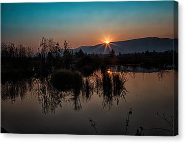 Sunrise Over The Beaver Pond Canvas Print by Ronald Lutz