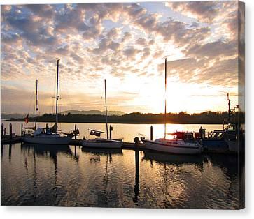 Sunrise Sailboats On Coos Bay Canvas Print by Gary Rifkin
