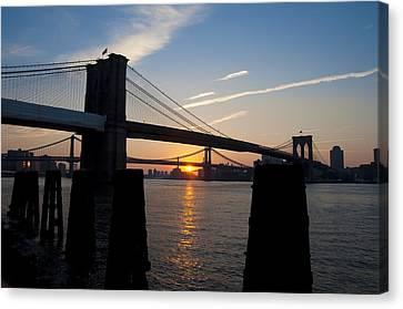 Sunrise Through The Two Bridges Canvas Print
