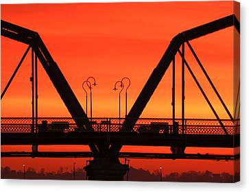 Sunrise Walnut Street Bridge Canvas Print by Tom and Pat Cory