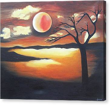 Sunset - Oil Painting Canvas Print by Rejeena Niaz