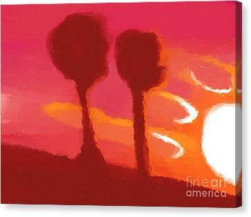 Sunset Abstract Trees Canvas Print