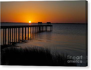 Sunset Across Currituck Sound Canvas Print by Ronald Lutz