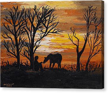 Canvas Print featuring the painting Sunset After A Great Ride by J Cheyenne Howell